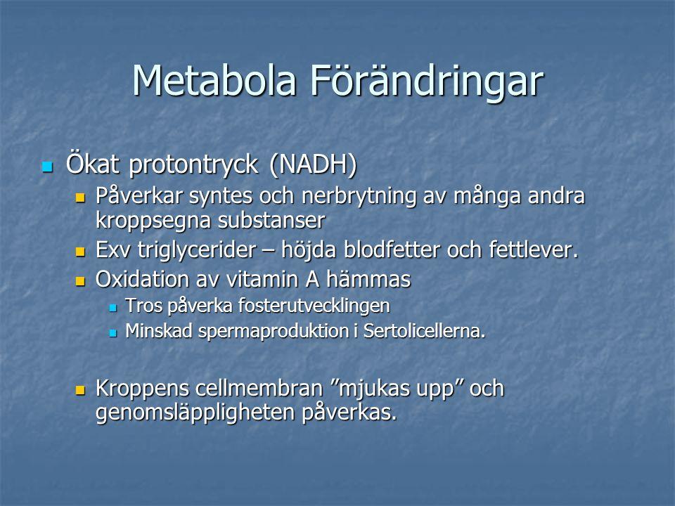 Metabola Förändringar  Ökat protontryck (NADH)  Påverkar syntes och nerbrytning av många andra kroppsegna substanser  Exv triglycerider – höjda blo