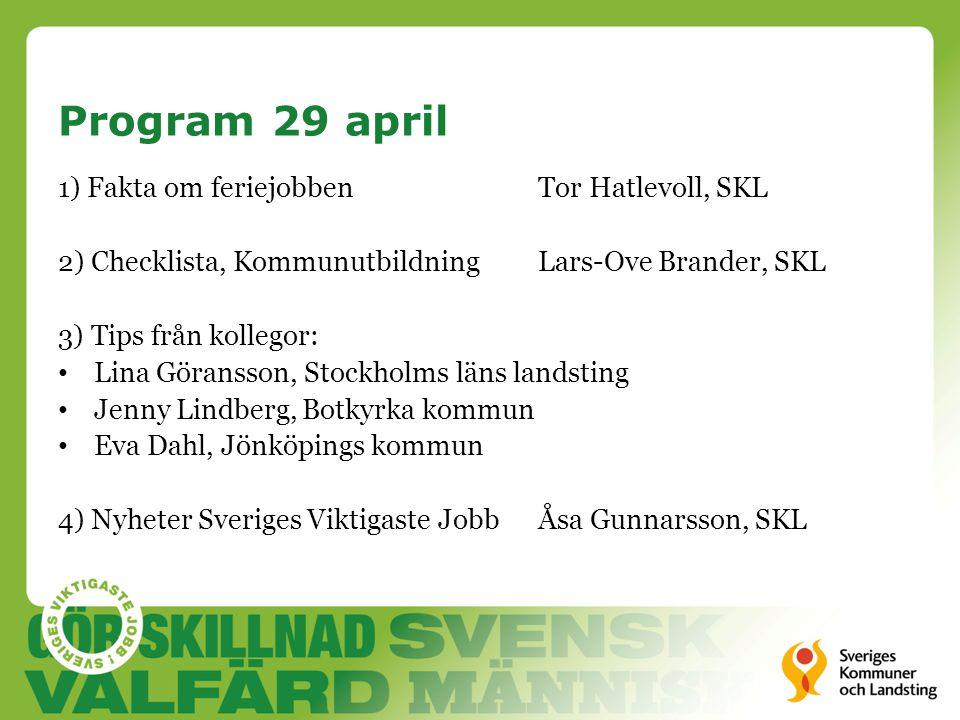 Program 29 april 1) Fakta om feriejobbenTor Hatlevoll, SKL 2) Checklista, KommunutbildningLars-Ove Brander, SKL 3) Tips från kollegor: • Lina Göransso