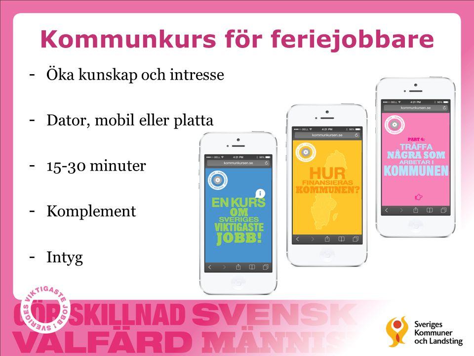 Kommunkurs för feriejobbare - Öka kunskap och intresse - Dator, mobil eller platta - 15-30 minuter - Komplement - Intyg