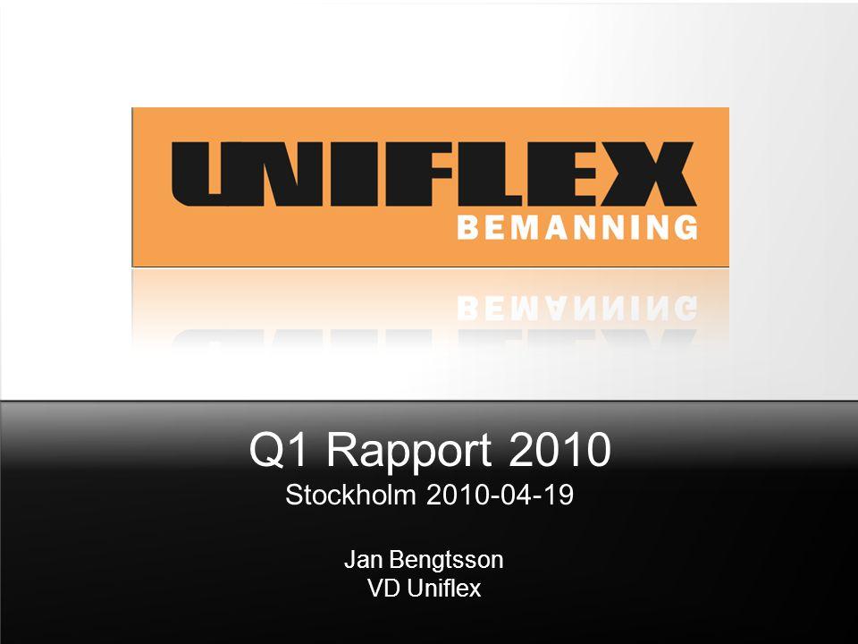 Q1 Rapport 2010 Stockholm 2010-04-19 Jan Bengtsson VD Uniflex