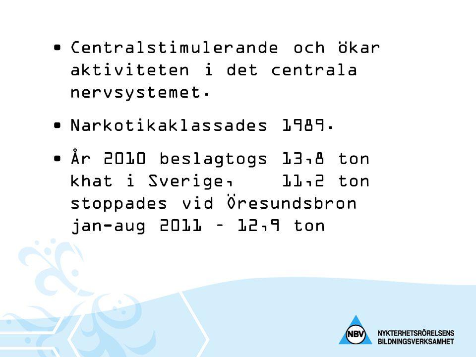 •Centralstimulerande och ökar aktiviteten i det centrala nervsystemet. •Narkotikaklassades 1989. •År 2010 beslagtogs 13,8 ton khat i Sverige, 11,2 ton