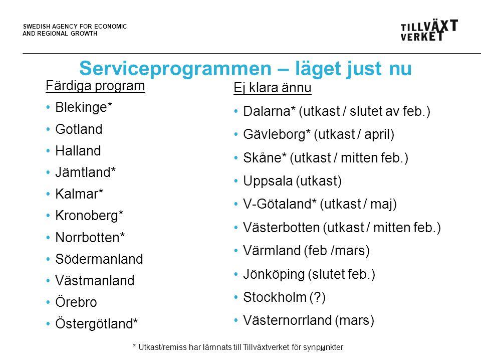 SWEDISH AGENCY FOR ECONOMIC AND REGIONAL GROWTH 23 Serviceprogrammen – läget just nu Färdiga program •Blekinge* •Gotland •Halland •Jämtland* •Kalmar* •Kronoberg* •Norrbotten* •Södermanland •Västmanland •Örebro •Östergötland* Ej klara ännu •Dalarna* (utkast / slutet av feb.) •Gävleborg* (utkast / april) •Skåne* (utkast / mitten feb.) •Uppsala (utkast) •V-Götaland* (utkast / maj) •Västerbotten (utkast / mitten feb.) •Värmland (feb /mars) •Jönköping (slutet feb.) •Stockholm ( ) •Västernorrland (mars) * Utkast/remiss har lämnats till Tillväxtverket för synpunkter