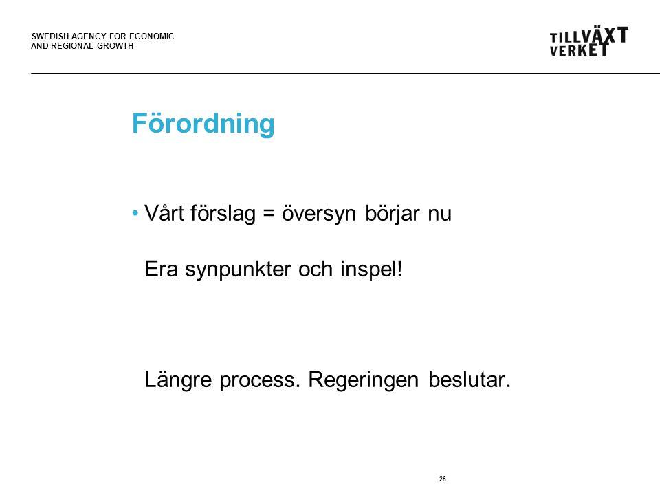 SWEDISH AGENCY FOR ECONOMIC AND REGIONAL GROWTH 26 Förordning •Vårt förslag = översyn börjar nu Era synpunkter och inspel! Längre process. Regeringen