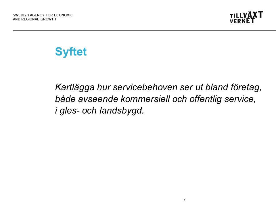 SWEDISH AGENCY FOR ECONOMIC AND REGIONAL GROWTH 9 Syftet Kartlägga hur servicebehoven ser ut bland företag, både avseende kommersiell och offentlig service, i gles- och landsbygd.