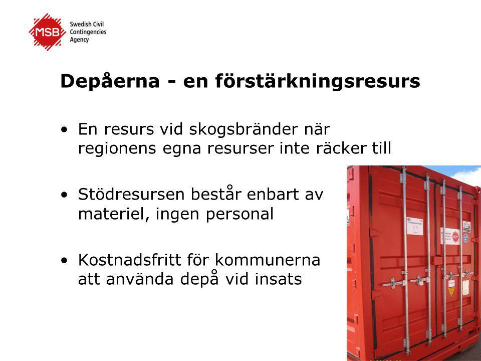 Depåerna rustades upp 2013 •Tidigare depåer är utbytta till nya containers med uppdaterad utrustning •Önskemål från kommunerna om innehållet i depåerna har beaktats