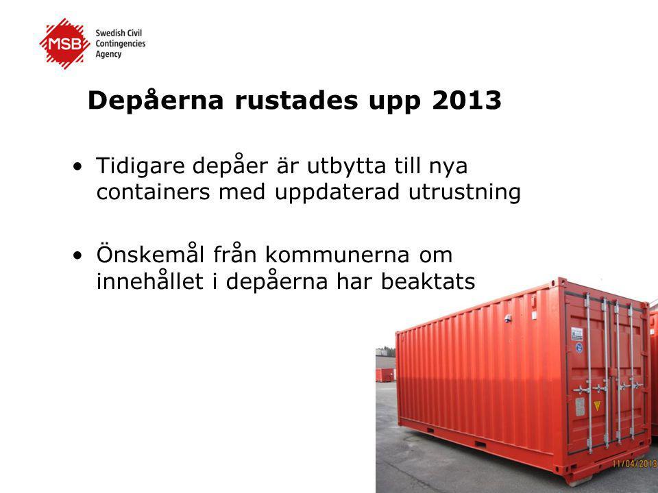 Depåerna rustades upp 2013 •Tidigare depåer är utbytta till nya containers med uppdaterad utrustning •Önskemål från kommunerna om innehållet i depåern