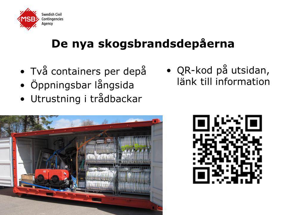 De nya skogsbrandsdepåerna •Två containers per depå •Öppningsbar långsida •Utrustning i trådbackar •QR-kod på utsidan, länk till information