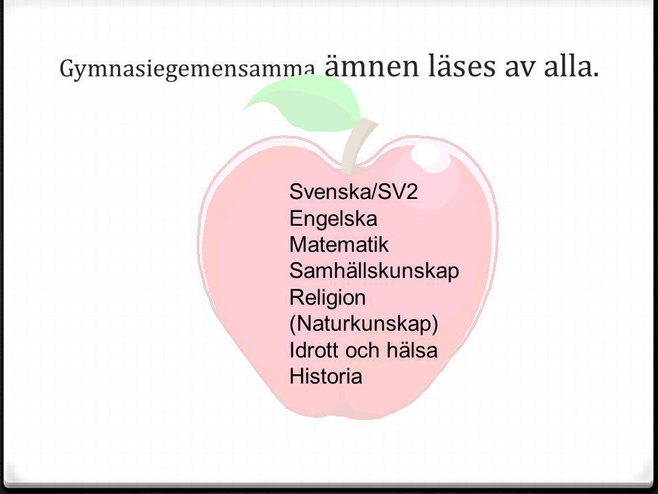 Gymnasiegemensamma ämnen läses av alla. Svenska/SV2 Engelska Matematik Samhällskunskap Religion (Naturkunskap) Idrott och hälsa Historia