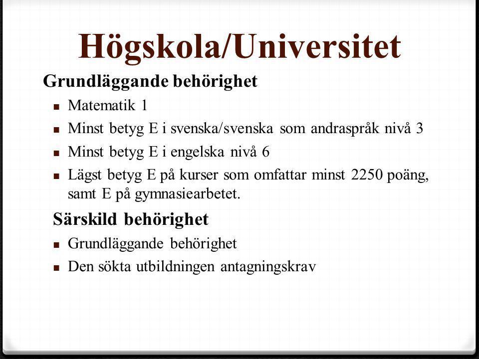 Högskola/Universitet Grundläggande behörighet Grundläggande behörighet  Matematik 1  Minst betyg E i svenska/svenska som andraspråk nivå 3  Minst b