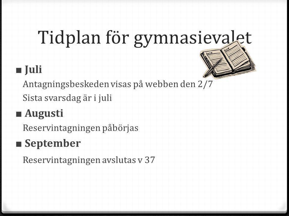 Tidplan för gymnasievalet ■ Juli Antagningsbeskeden visas på webben den 2/7 Sista svarsdag är i juli ■ Augusti Reservintagningen påbörjas ■ September