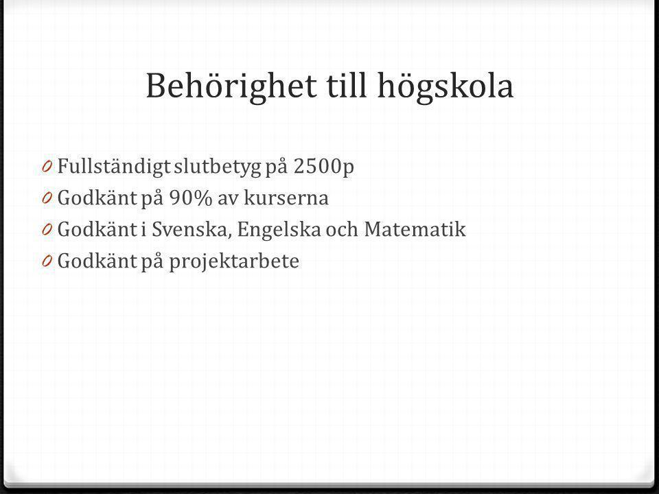 Behörighet till högskola 0 Fullständigt slutbetyg på 2500p 0 Godkänt på 90% av kurserna 0 Godkänt i Svenska, Engelska och Matematik 0 Godkänt på proje