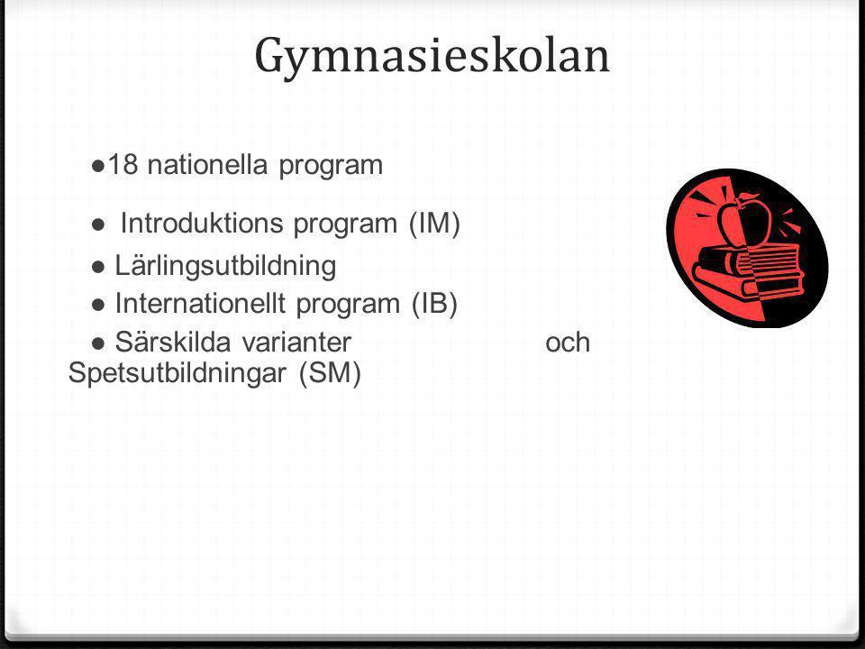 Gymnasieskolan ●18 nationella program ● Introduktions program (IM) ● Lärlingsutbildning ● Internationellt program (IB) ● Särskilda varianter och Spets