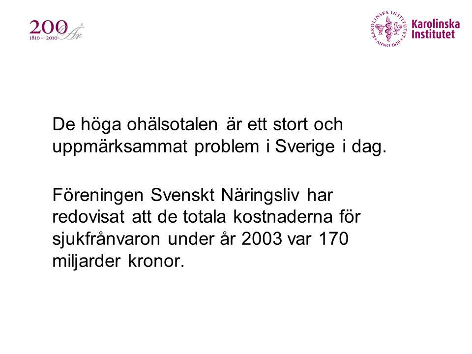 •De höga ohälsotalen är ett stort och uppmärksammat problem i Sverige i dag. •Föreningen Svenskt Näringsliv har redovisat att de totala kostnaderna fö