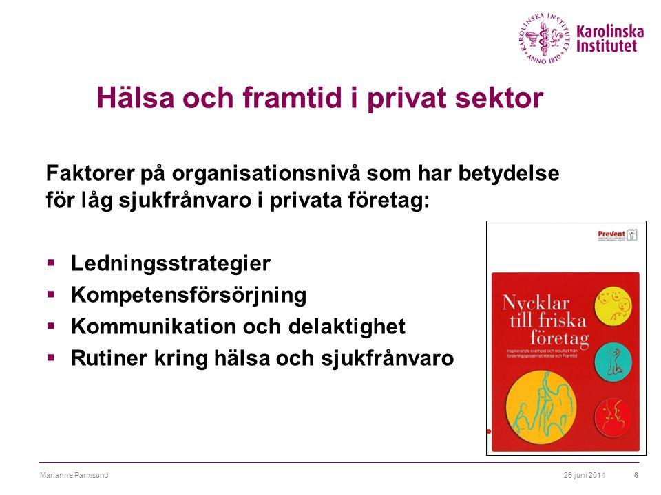 Hälsa och framtid i privat sektor Faktorer på organisationsnivå som har betydelse för låg sjukfrånvaro i privata företag:  Ledningsstrategier  Kompe