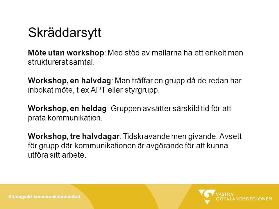 Strategiskt kommunikationsstöd Skräddarsytt Möte utan workshop: Med stöd av mallarna ha ett enkelt men strukturerat samtal.