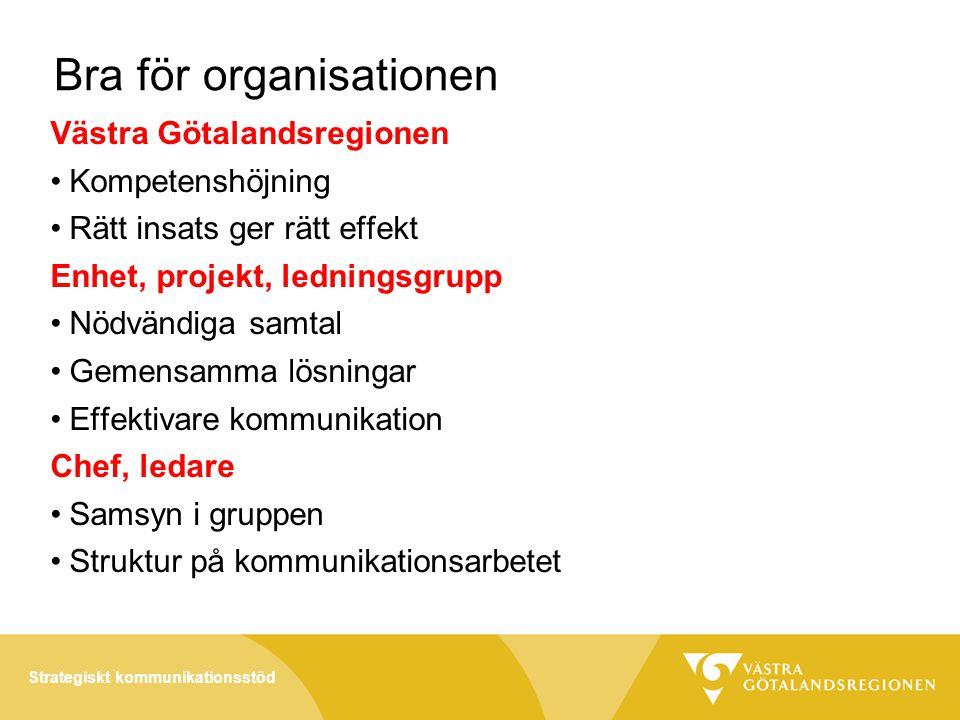 Bra för organisationen Västra Götalandsregionen •Kompetenshöjning •Rätt insats ger rätt effekt Enhet, projekt, ledningsgrupp •Nödvändiga samtal •Gemensamma lösningar •Effektivare kommunikation Chef, ledare •Samsyn i gruppen •Struktur på kommunikationsarbetet