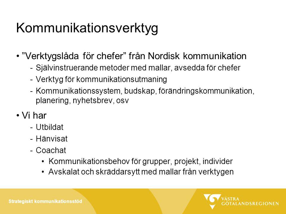 Strategiskt kommunikationsstöd Kommunikationsverktyg • Verktygslåda för chefer från Nordisk kommunikation -Självinstruerande metoder med mallar, avsedda för chefer -Verktyg för kommunikationsutmaning -Kommunikationssystem, budskap, förändringskommunikation, planering, nyhetsbrev, osv •Vi har -Utbildat -Hänvisat -Coachat •Kommunikationsbehov för grupper, projekt, individer •Avskalat och skräddarsytt med mallar från verktygen