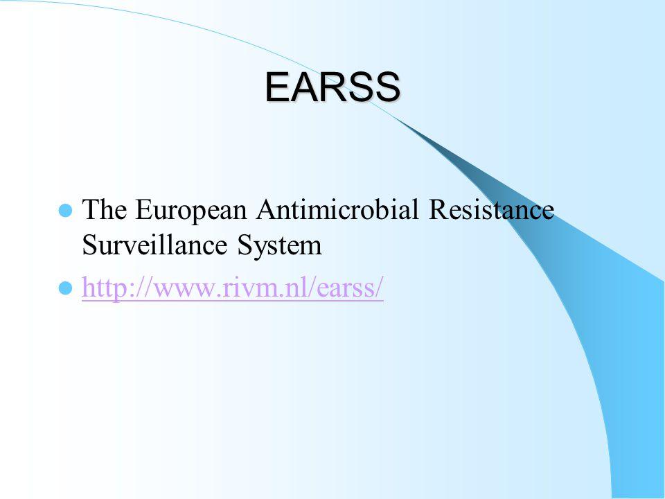 EARSS  The European Antimicrobial Resistance Surveillance System  http://www.rivm.nl/earss/ http://www.rivm.nl/earss/