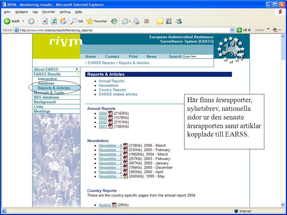 Här finns årsrapporter, nyhetsbrev, nationella sidor ur den senaste årsrapporten samt artiklar kopplade till EARSS.
