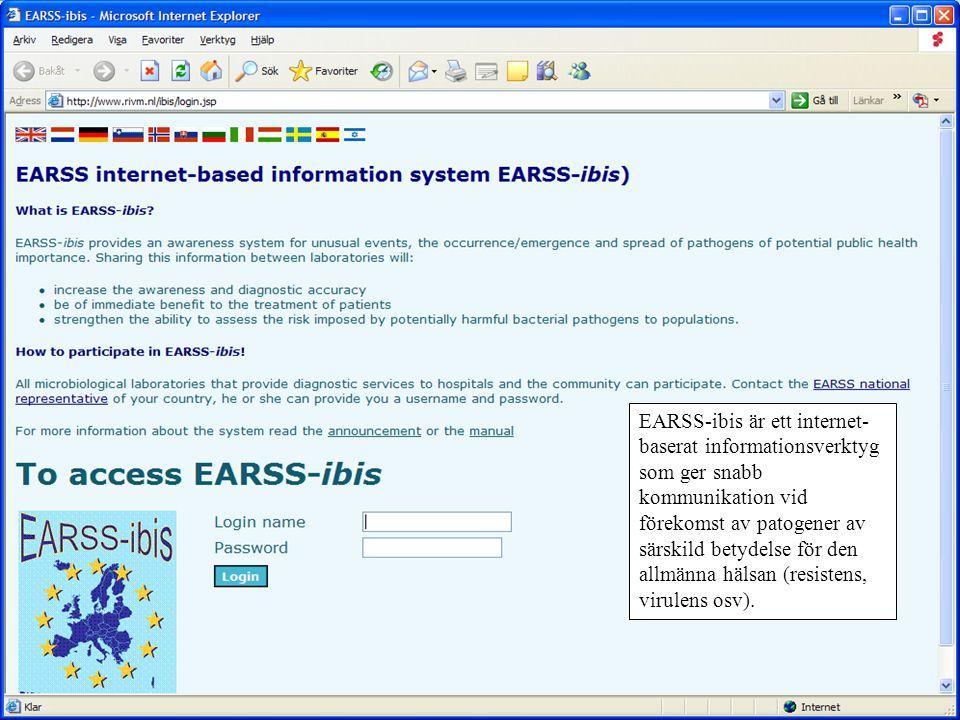 EARSS-ibis är ett internet- baserat informationsverktyg som ger snabb kommunikation vid förekomst av patogener av särskild betydelse för den allmänna hälsan (resistens, virulens osv).