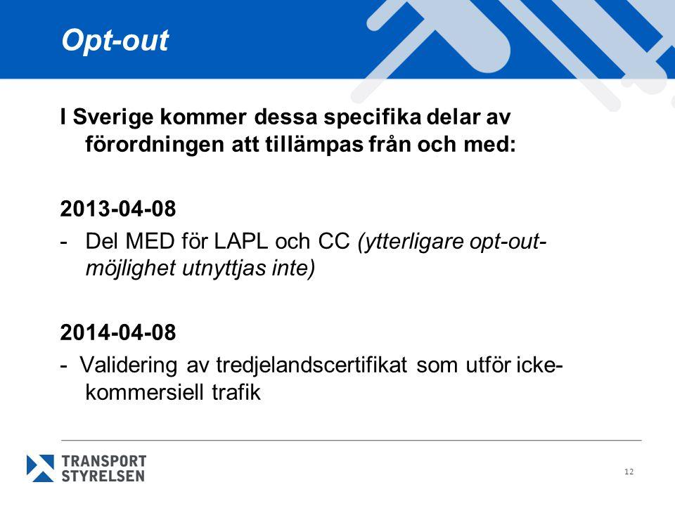 Opt-out I Sverige kommer dessa specifika delar av förordningen att tillämpas från och med: 2013-04-08 -Del MED för LAPL och CC (ytterligare opt-out- m