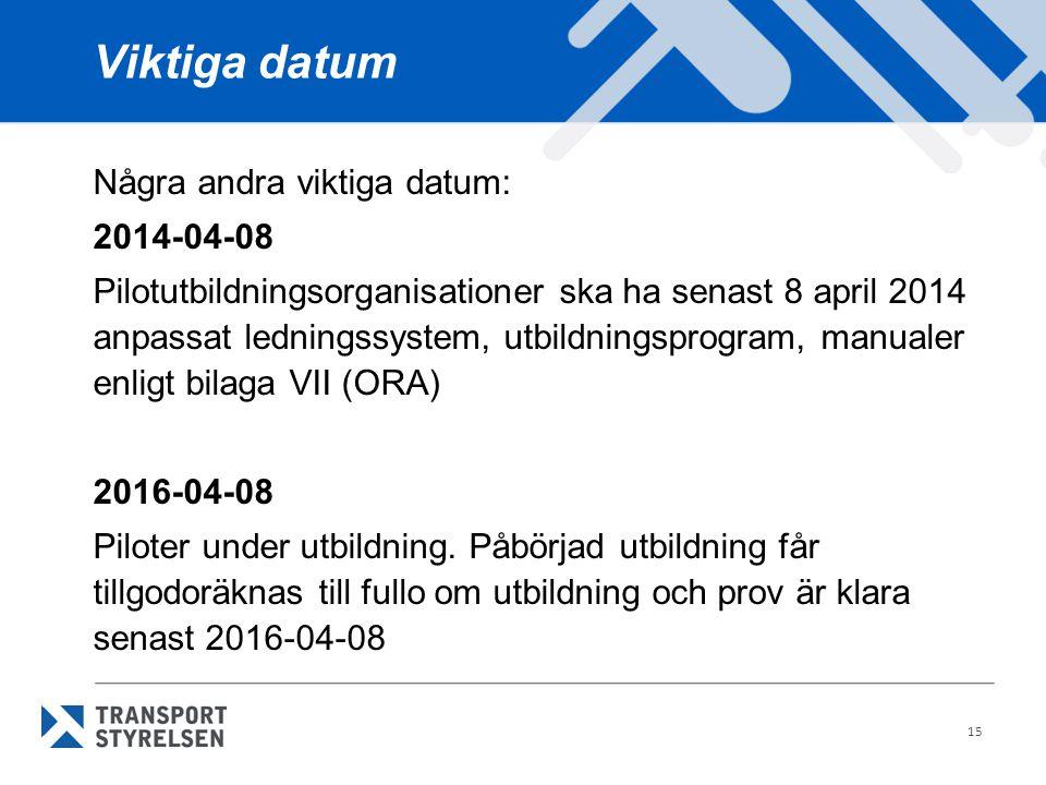 Viktiga datum Några andra viktiga datum: 2014-04-08 Pilotutbildningsorganisationer ska ha senast 8 april 2014 anpassat ledningssystem, utbildningsprog