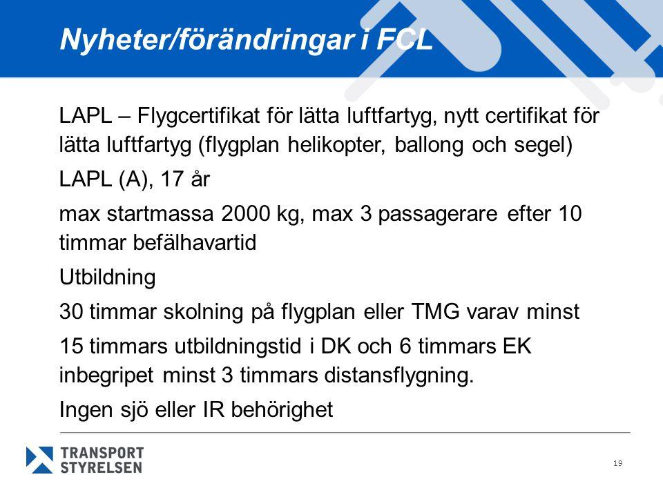 19 Nyheter/förändringar i FCL LAPL – Flygcertifikat för lätta luftfartyg, nytt certifikat för lätta luftfartyg (flygplan helikopter, ballong och segel