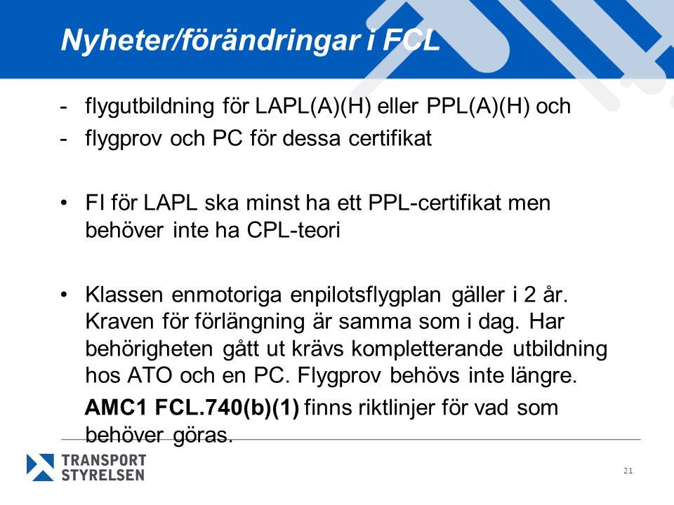 Nyheter/förändringar i FCL -flygutbildning för LAPL(A)(H) eller PPL(A)(H) och -flygprov och PC för dessa certifikat •FI för LAPL ska minst ha ett PPL-