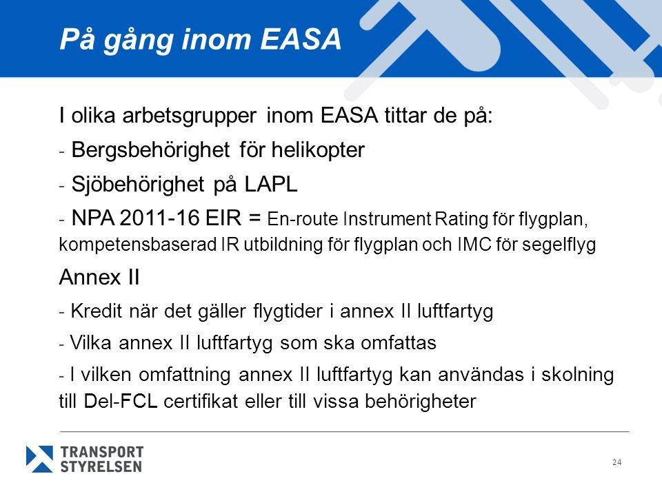 24 På gång inom EASA I olika arbetsgrupper inom EASA tittar de på: - Bergsbehörighet för helikopter - Sjöbehörighet på LAPL - NPA 2011-16 EIR = En-rou