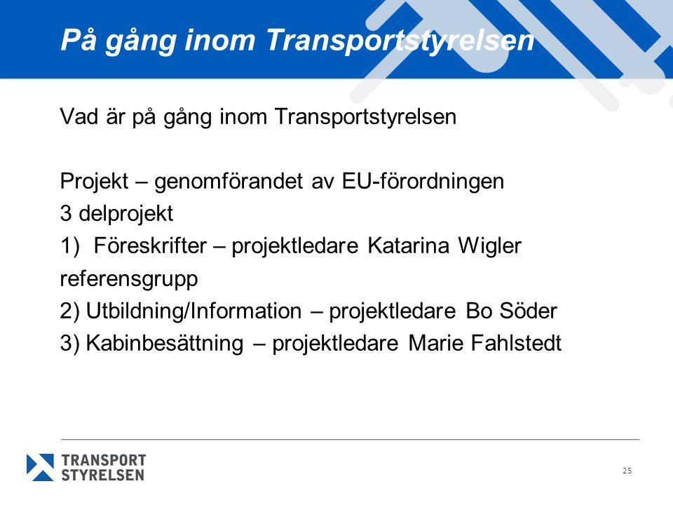På gång inom Transportstyrelsen Vad är på gång inom Transportstyrelsen Projekt – genomförandet av EU-förordningen 3 delprojekt 1)Föreskrifter – projek