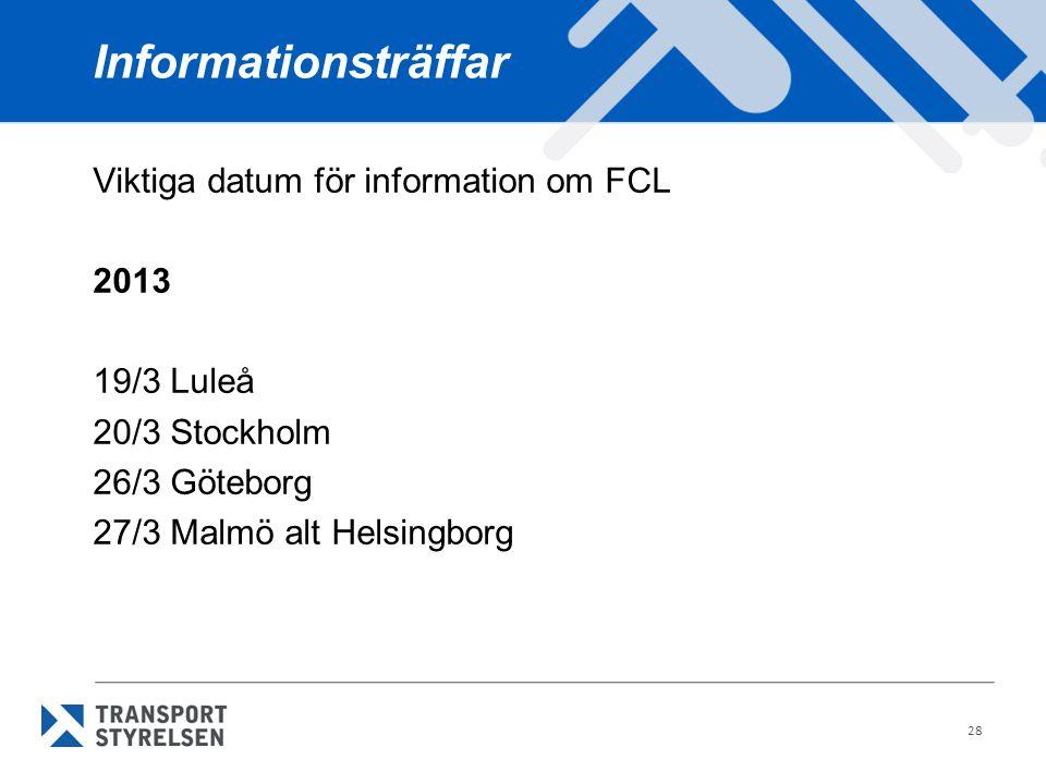 Informationsträffar Viktiga datum för information om FCL 2013 19/3 Luleå 20/3 Stockholm 26/3 Göteborg 27/3 Malmö alt Helsingborg 28