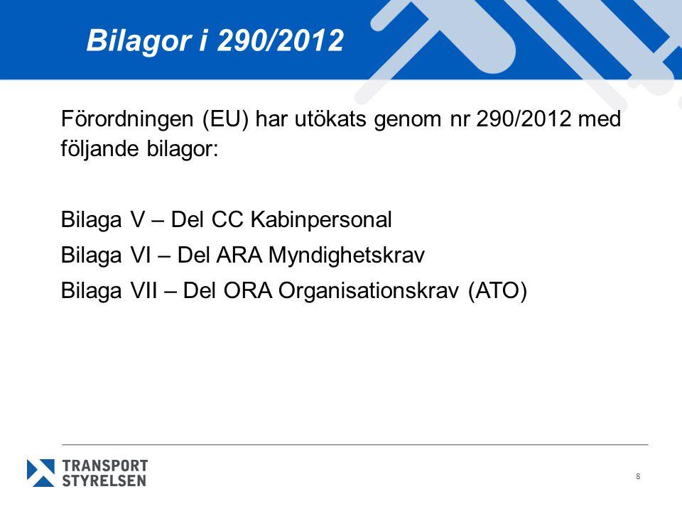8 Bilagor i 290/2012 Förordningen (EU) har utökats genom nr 290/2012 med följande bilagor: Bilaga V – Del CC Kabinpersonal Bilaga VI – Del ARA Myndigh
