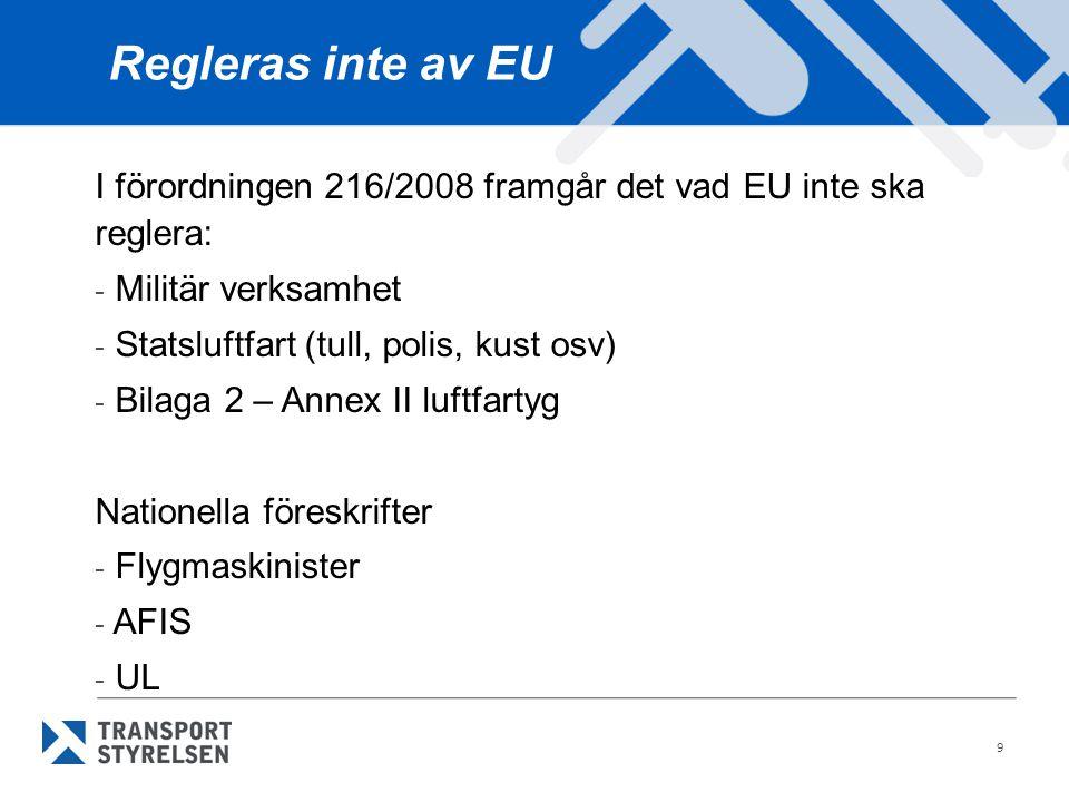 9 Regleras inte av EU I förordningen 216/2008 framgår det vad EU inte ska reglera: - Militär verksamhet - Statsluftfart (tull, polis, kust osv) - Bila