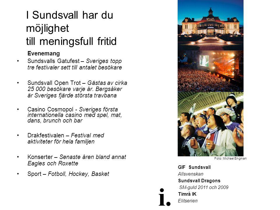 I Sundsvall har du möjlighet till meningsfull fritid Evenemang •Sundsvalls Gatufest – Sveriges topp tre festivaler sett till antalet besökare •Sundsva