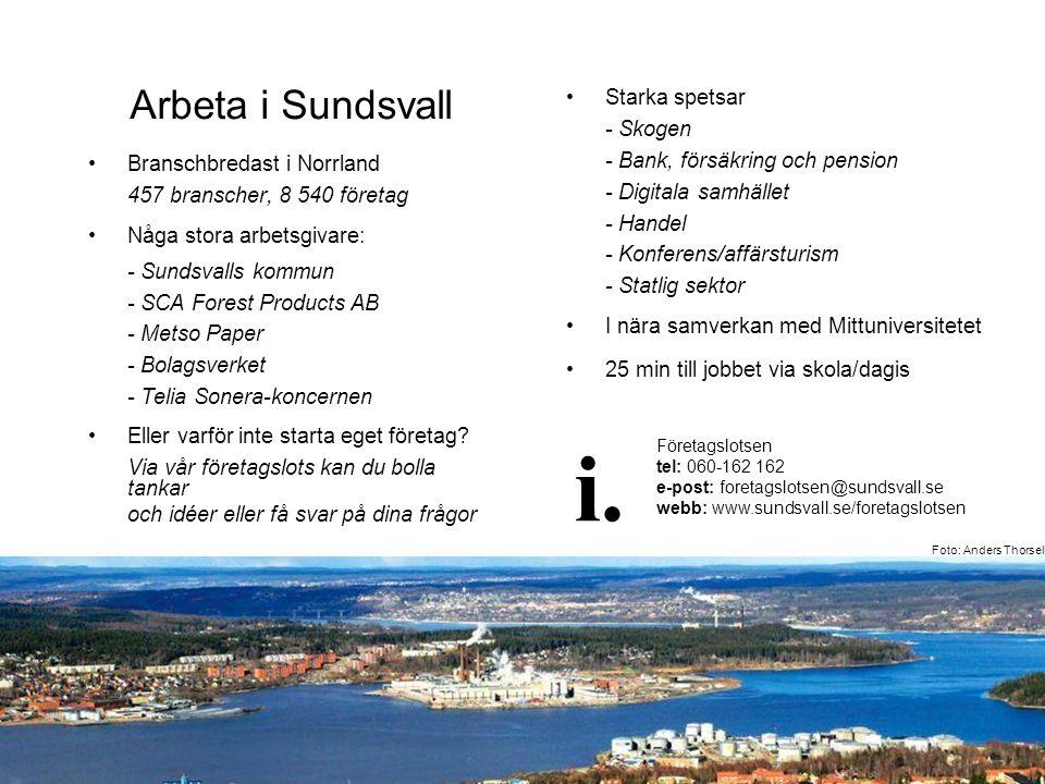 Arbeta i Sundsvall •Branschbredast i Norrland 457 branscher, 8 540 företag •Någa stora arbetsgivare: - Sundsvalls kommun - SCA Forest Products AB - Me