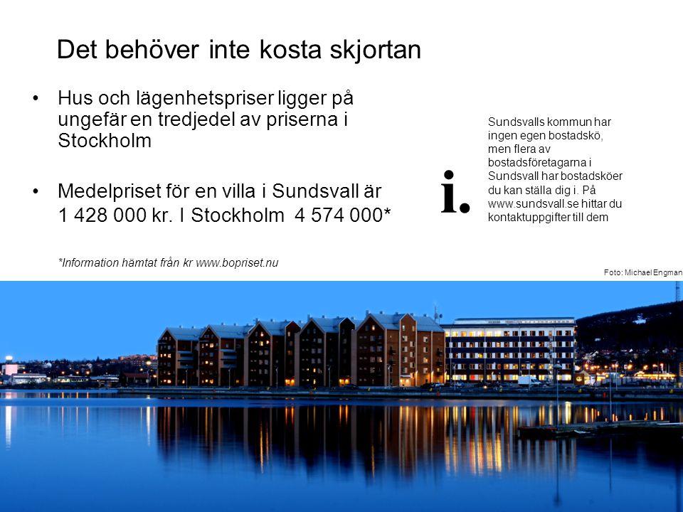 Det behöver inte kosta skjortan •Hus och lägenhetspriser ligger på ungefär en tredjedel av priserna i Stockholm •Medelpriset för en villa i Sundsvall