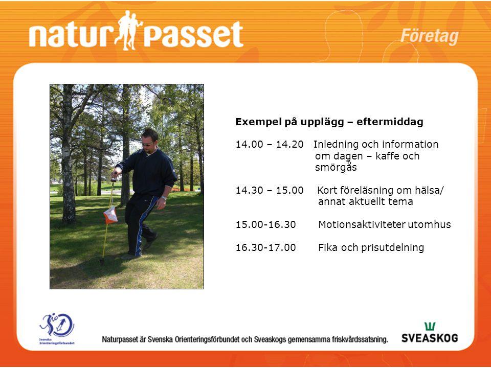 Exempel på upplägg – kväll Inledning – välkomna, information Motionsaktiviteter Avslutning med fika/mat/korvgrillning