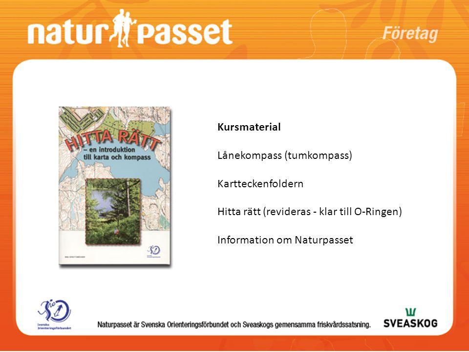Kursmaterial Lånekompass (tumkompass) Kartteckenfoldern Hitta rätt (revideras - klar till O-Ringen) Information om Naturpasset
