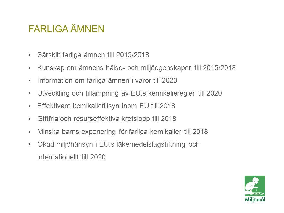 FARLIGA ÄMNEN •Särskilt farliga ämnen till 2015/2018 •Kunskap om ämnens hälso- och miljöegenskaper till 2015/2018 •Information om farliga ämnen i varo