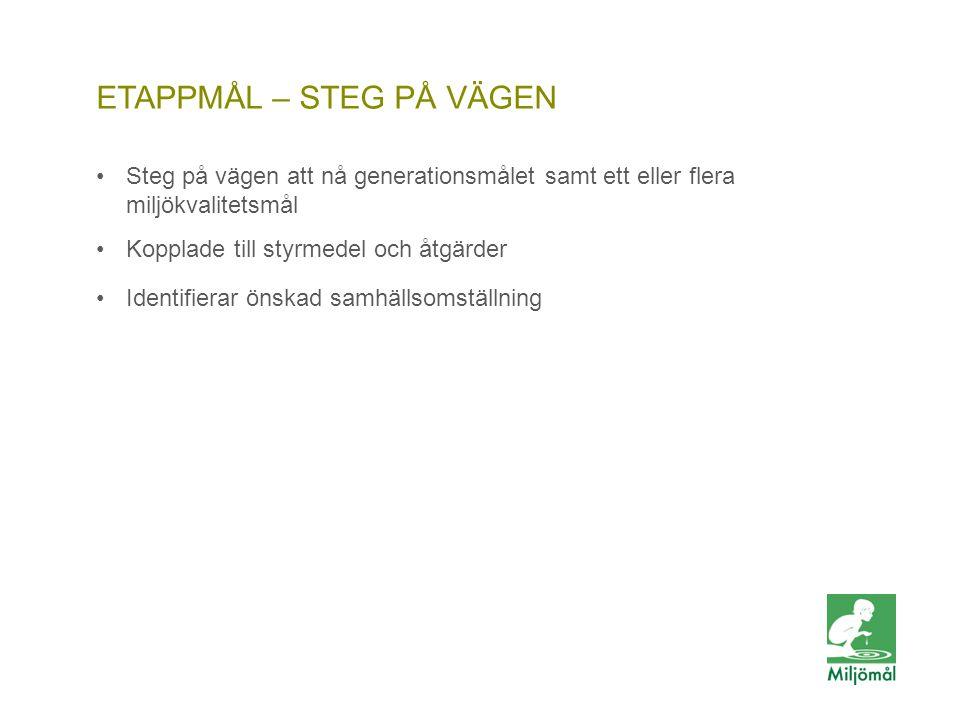 ETAPPMÅL – STEG PÅ VÄGEN •Steg på vägen att nå generationsmålet samt ett eller flera miljökvalitetsmål •Kopplade till styrmedel och åtgärder •Identifi