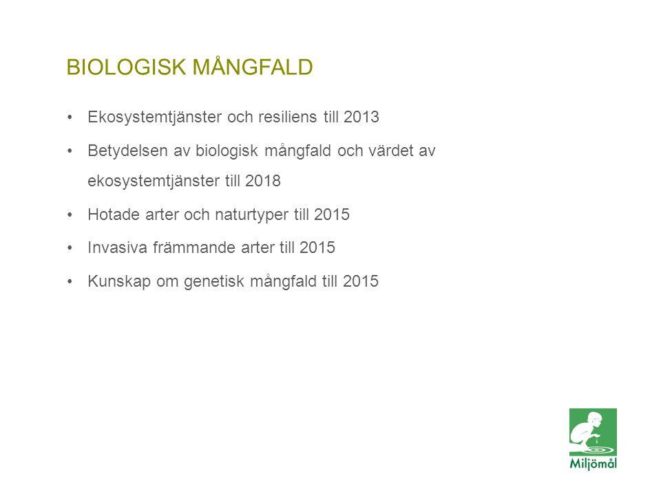 BIOLOGISK MÅNGFALD •Ekosystemtjänster och resiliens till 2013 •Betydelsen av biologisk mångfald och värdet av ekosystemtjänster till 2018 •Hotade arte