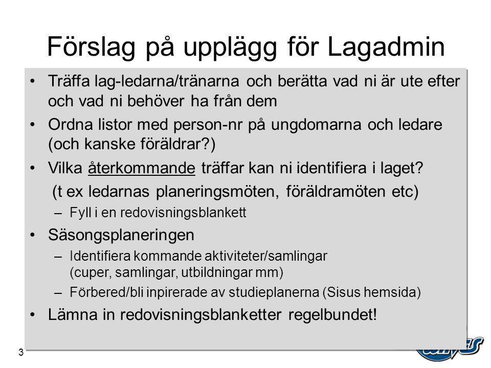 Förslag på upplägg för Lagadmin •Träffa lag-ledarna/tränarna och berätta vad ni är ute efter och vad ni behöver ha från dem •Ordna listor med person-n