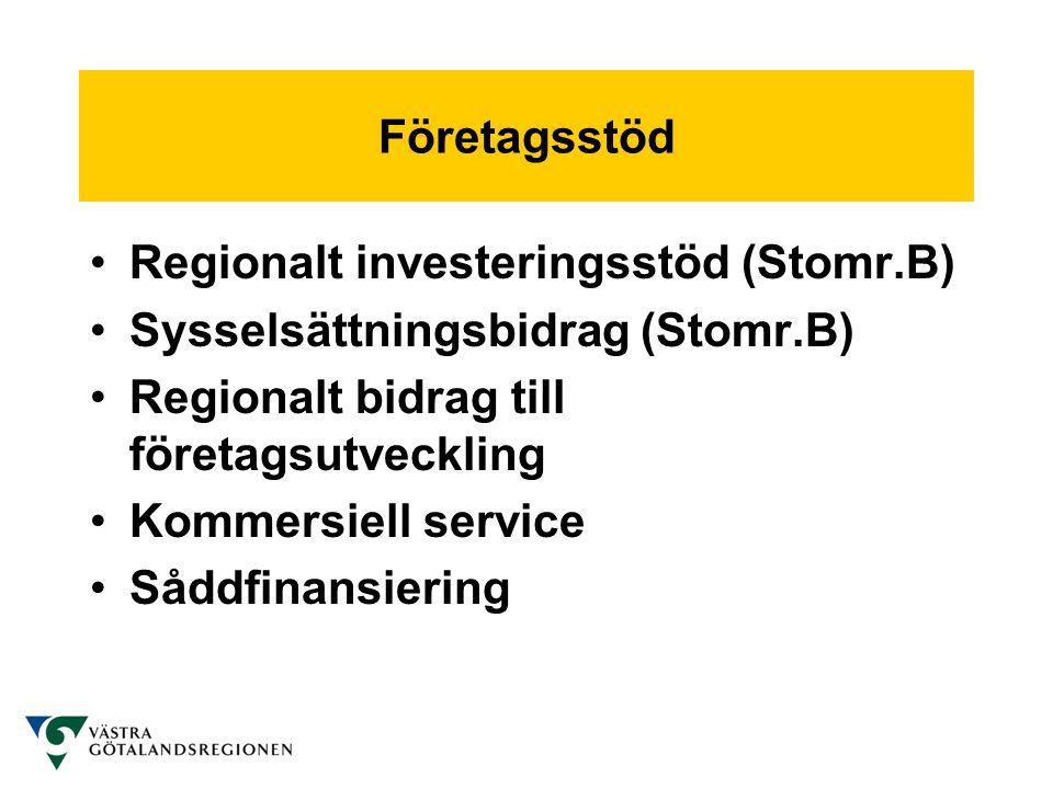 Företagsstöd •Regionalt investeringsstöd (Stomr.B) •Sysselsättningsbidrag (Stomr.B) •Regionalt bidrag till företagsutveckling •Kommersiell service •Så