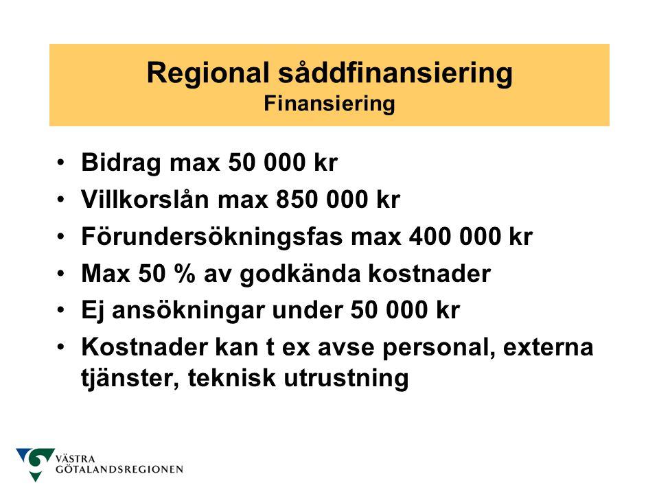 Regional såddfinansiering Finansiering •Bidrag max 50 000 kr •Villkorslån max 850 000 kr •Förundersökningsfas max 400 000 kr •Max 50 % av godkända kos