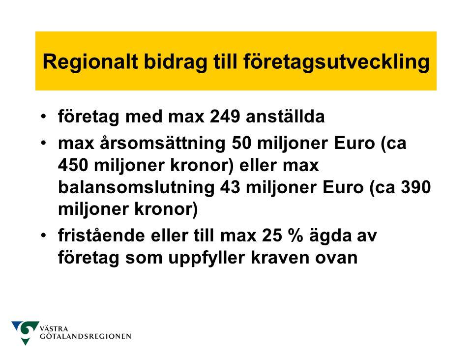 Regionalt bidrag till företagsutveckling •företag med max 249 anställda •max årsomsättning 50 miljoner Euro (ca 450 miljoner kronor) eller max balanso