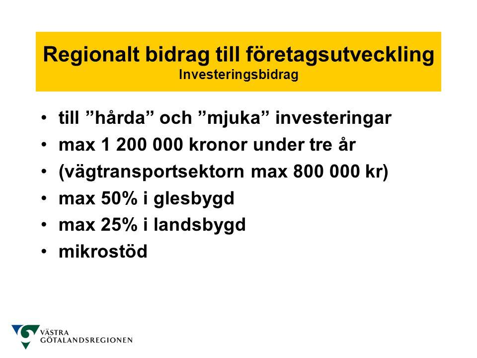 Regionalt bidrag till företagsutveckling Ej stödberättigad verksamhet •Tjänster och produkter på lokal/regional eller mättad marknad •Entreprenadverksamhet •Jordbruk och fiske •Vid mycket goda förutsättningar •Konkurrens vid konstant efterfrågan