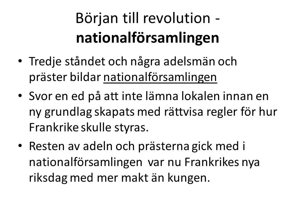 Början till revolution - nationalförsamlingen • Tredje ståndet och några adelsmän och präster bildar nationalförsamlingen • Svor en ed på att inte läm