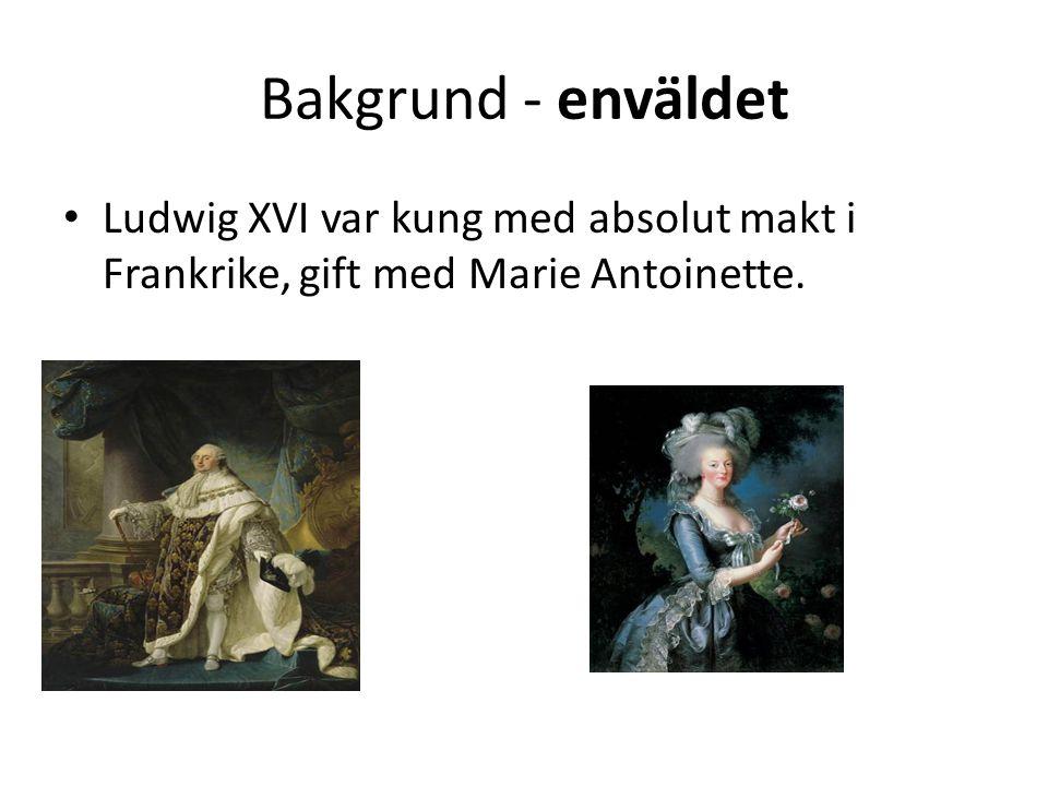 Bakgrund - enväldet • Ludwig XVI var kung med absolut makt i Frankrike, gift med Marie Antoinette.
