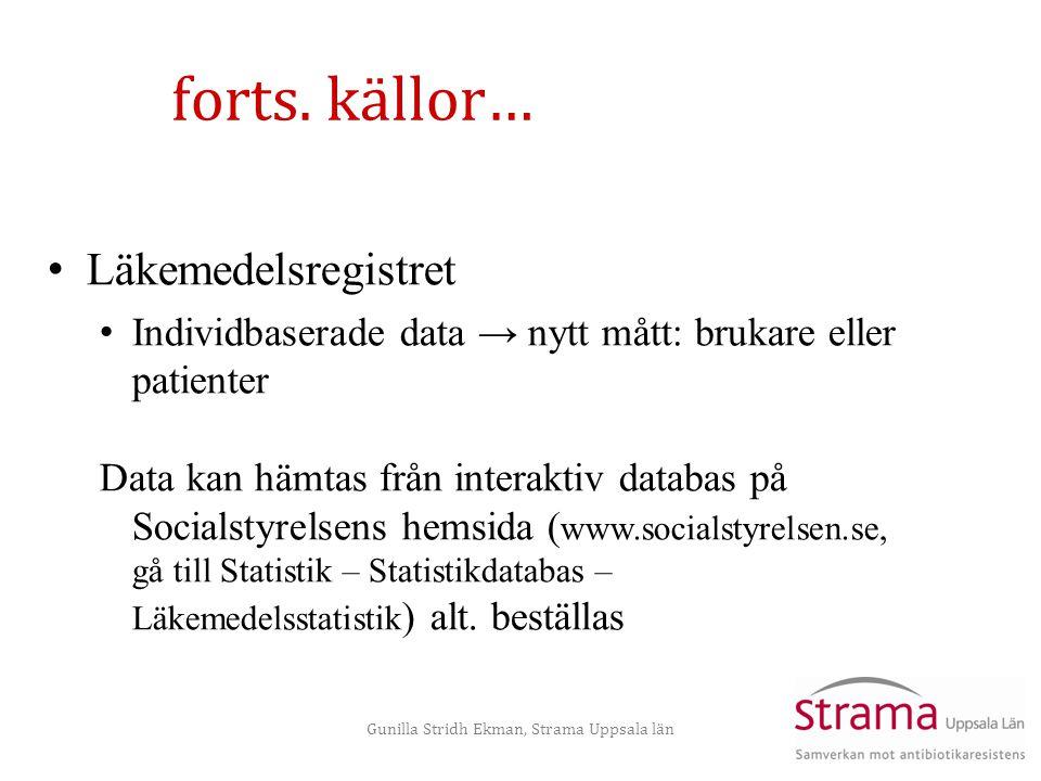 Gunilla Stridh Ekman, Strama Uppsala län forts. källor… • Läkemedelsregistret • Individbaserade data → nytt mått: brukare eller patienter Data kan häm