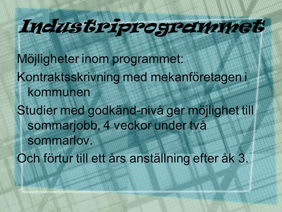 Industriprogrammet Möjligheter inom programmet: Kontraktsskrivning med mekanföretagen i kommunen Studier med godkänd-nivå ger möjlighet till sommarjob